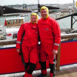 Yachtmaster training in exposure suits, Cowes, Isle of Wight, England